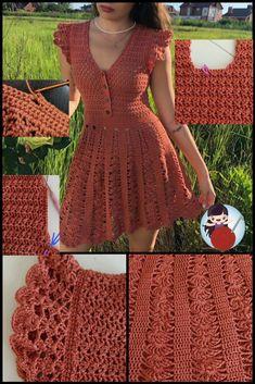 Cute Crochet, Crochet Lace, Party Wear Maxi Dresses, Crochet Hooded Scarf, Crochet Fashion, Crochet Designs, Crochet Clothes, Knit Dress, Blouse Designs