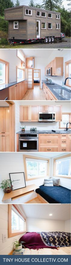 The Albatross: a three bedroom tiny home from British Columbia nearly perfect layout. Tiny Apartments, Tiny Spaces, Small Space Design, Small Space Living, Tiny House Plans, Tiny House On Wheels, Cubes, Compact House, Tiny House Nation