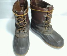 Vintage L.L Bean Maine Hunting Shoe Bean Boot Sz 8 Felt Liner Chain Tread #LLBean #SnowWinter