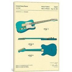 "East Urban Home 'C.L. Fender Guitar Patent' Graphic Art Print on Canvas Size: 40"" H x 26"" W x 0.75"" D #fenderguitars"