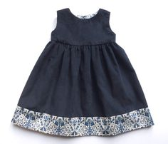 Liberty Print Girls Navy Corduroy Pinafore Lodden