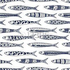 cool: Vector seamless pattern with hand drawn sardines. Advertising, menu or packaging cool design elements.