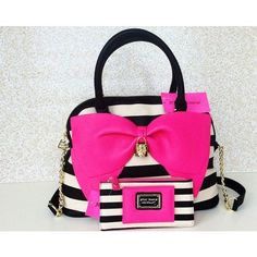 Black and white striped Betsey Johnson bag & matching wallet