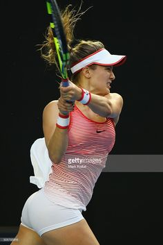 Hottest photos showing Eugenie Bouchard wears Nike underwear inEugenie Bouchard of Canada plays a backhand in her second round match against Agnieszka Radwanska of Poland during day three of the 2016 Australian Open at Melbourne Park on January 2016 Mode Tennis, Sport Tennis, Eugene Bouchard, Golf Knickers, Belle Nana, Foto Sport, Maria Sharapova Photos, Tennis Players Female, Tennis Fashion