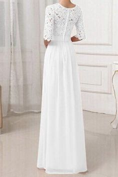 Crochet Panel Long Formal Prom Princess Dress