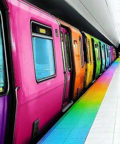 Rainbow Subway Train by Ramzy Masri & Martin Tadashi Taste The Rainbow, Over The Rainbow, World Of Color, Color Of Life, Rainbow Art, Rainbow Colors, Happy Colors, True Colors, Neon Licht