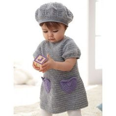 Sweet crochet dress with accent heart pockets and matching beret for ages 6 to 18 months. I guess I should learn to crochet! Little Girl Dress Patterns, Baby Patterns, Knitting Patterns, Crochet Patterns, Crochet Baby Dress Free Pattern, Pillow Patterns, Crochet Edgings, Shawl Patterns, Pattern Dress