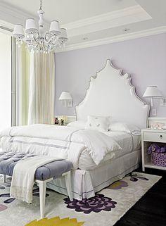 Fanny Haim and Associates - girl's rooms - girls room, girls bedroom, vinyl headboard, white headboard, white vinyl headboard, lilac walls, ...