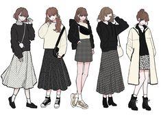 Korean Girl Fashion, Japanese Fashion, Fashion Design Drawings, Fashion Sketches, How To Draw Shirts, Pop Fashion, Fashion Art, Anime Outfits, Cute Outfits