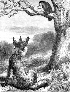 "THE FOX AND THE CROW. Harrison William Weir  ""When anyone is flattered as possessing qualities he ought to feel conscious he does not possess, let him beware lest the flatterers wish either to deprive him of some solid good, or to make him appear ridiculous in the eyes of others.""  Taciturn"