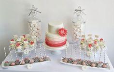 Coral and Grey Wedding Dessert Table | via sugar ruffles