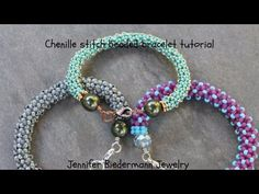 Chenille stitch beaded bracelet tutorial - YouTube