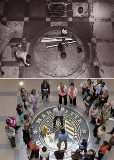 Then and Now at Marquette University:   In 1993, the university seal in the floor of Cudahy Hall was still under construction. In 2012, two Teach for America students square off in a staring contest during the Teacher Olympics.1993 photo source: Dan Johnson, IMC Photography at Marquette University