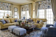 ** Nice English country living room with great window treatments