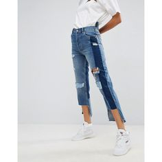 ASOS Deconstructed Straight Leg Jeans with Rips and Extreme Stepped... (€16) ❤ liked on Polyvore featuring jeans, blue, distressing jeans, shiny jeans, tall straight leg jeans, ripped jeans and asos