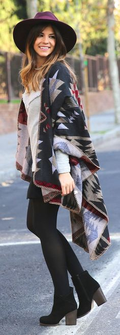 MUSTT Print - Black Multi Ethnic Print Cape Cardigan with Black Mini Skirt and Heels Bootie / TrendyTaste Style Boho, Boho Chic, My Style, Bohemian, Fall Winter Outfits, Autumn Winter Fashion, Fall Fashion, Trendy Taste, Poncho Outfit