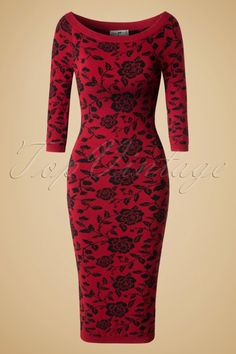 Collectif Clothing ~ 50s Ivana Roses Pencil Dress in Dark Red