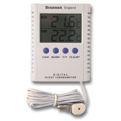 Digital max min thermometer with two displays for indoor and outdoor temperature readings. Each display has a maximum and minimum recording facility and can be displayed in °C or °F. This max min thermometer comes complete with stand and 2.5m cable for the probe.