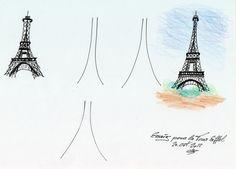 Ein paar Versuche den Eiffelturm aus dem Kopf zu zeichnen