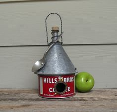 Vintage Coffee Can Birdhouse, Whimsical Birdhouse, Funnel Roof Birdhouse, Red Birdhouse, Repurposed Birdhouse, Recycled, Reclaimed, Spoon. $39.00, via Etsy.