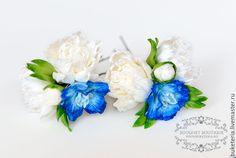 Купить Цветы для прически - цветы из полимерной глины, цветы из глины, цветы ручной работы