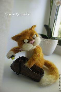 Купить Провинившийся... - рыжий, кот, котик, котенок, Сухое валяние, фильцевание, войлочный кот