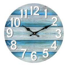 Home :: Clocks :: Indoor Wall Clocks :: Beach & Surf :: Teal Boards Wall Clock