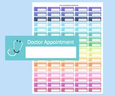 Printable Doctor Appointment Stickers for your Erin Condren Life Planner.  What You Need to Know Digital File: You will receive a link to download the PDF within about 5 minutes of payment Size: Each sticker measures 0.5 high and 1.5 wide Fits perfectly within your weekly box of your Erin Condren Planner Print: on standard size 8.5 x 11 Sticker Paper. I recommend Staples Brand which can be found here: http://www.staples.com/Staples-Sticker-Paper-70972-/product_490429  Plea...
