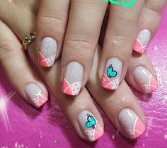 Have a good day :) - Ava Get Nails, Love Nails, Pretty Nails, Hair And Nails, French Nails, Crazy Nails, Nagel Gel, Glitter Nail Art, Holiday Nails