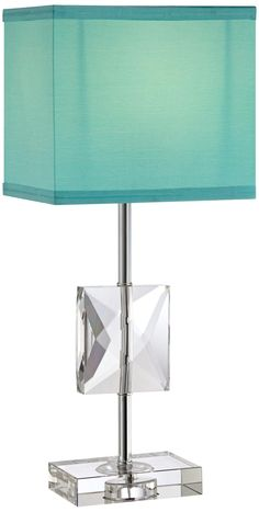 Clara Donna Crystal Accent Teal Blue Table Lamp -