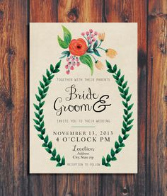 Floral Wedding Invitation by ConteurCo on Etsy, $50.00