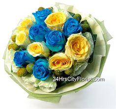 Blue & Yellow Rose Bouquet http://www.24hrscityflorist.com/flower-meadow-blue-yellow-rose-bouquet-by-24hrs-city-florist.html