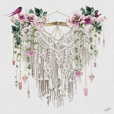 'Macrame' Graphic Art Print Lily Manor Format: Wrapped Canvas, Size: H x W x D Macrame Wall Hanging Diy, Macrame Art, Macrame Projects, Floral Skull, Purple Tulips, Metallic Prints, Macrame Patterns, Graphic Art, Canvas Canvas