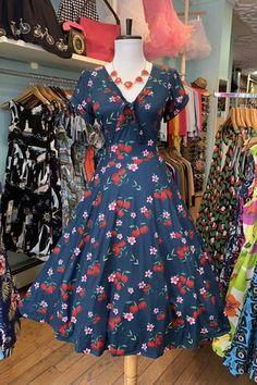 56402373f6ae Navy & Cherry Floral Natalie Swing Dress by Unique Vintage. Dresses – Modern  Millie Shop