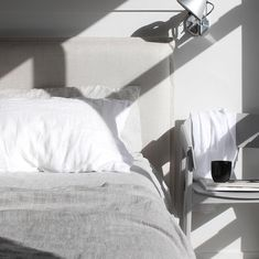 Bedside shadow play and our new Mira Linen Bedcover. Made from a heavyweight linen, it has such a gorgeous texture (and the… Bedroom Bed, Bedroom Furniture, Lighting Techniques, Shadow Play, Upholstered Beds, How To Make Bed, Bed Covers, Bedside, Contemporary Design