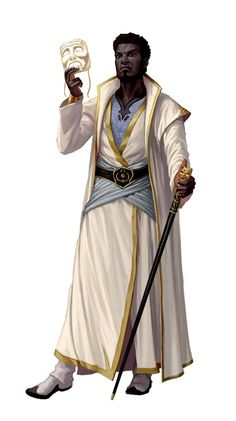 m Sorcerer Robes Mask Staff urban City Tower Male Human in white Cult Master Mesmerist - Pathfinder PFRPG DND D&D Fantasy Grounds