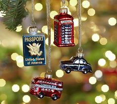Mini Travel Glass Ornaments, Set of 4 #potterybarn