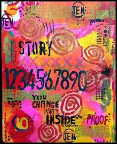 Believe Dream Create with Maria. Art Journal Page stencils by Seth Apter for StencilGirl.