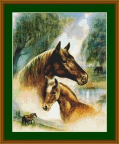 Mother's Love – Mom and her young baby horse.  Stitches: 159 x 200  Size: 11.36 x 14.29 inches       or 28.85 x 36.29 cm  Free eMail delivery. Your pattern will be delivered to your email box within 48 hours of your payment. Simply print and stitch. Pattern is in pdf format.