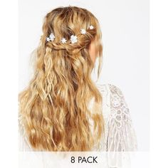 ASOS Pack of 8 Single Flower Clips ($12) ❤ liked on Polyvore featuring accessories, hair accessories, hair, gold, hair clip accessories, asos, barrette hair clip, asos hair accessories and prom hair accessories