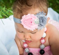 Pink baby headband Light pink gray baby headband grey chevron baby girl Baby hair accessories frayed flower head band newborn photo prop on Etsy, $6.95