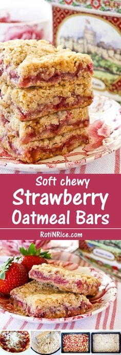 These simple yet delightful Strawberry Oatmeal Bars are soft and chewy with a fresh strawberry filling. You cannot even tell they are gluten free.   Food to gladden the heart at RotiNRice.com