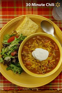 30-Minute Chili is a fantastic Simple Meal for a busy fall night! Try this Mom-approved easy-to-make and super-satisfying recipe featuring all the stuff your family loves: delicious ground beef, savory yellow onions, flavorful chili beans, tangy tomatoes and more. Cook this meal in under 30 minutes with less than 10 ingredients from Walmart. Make a little extra to keep the family fed on the go. Warm up with this and more great Simple Meal ideas.