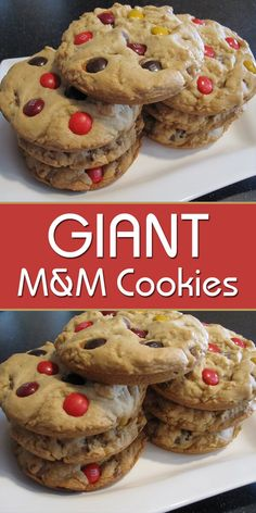 Giant M&M Cookies - Easy Culinary Concepts Salted Chocolate, Chocolate Cookies, Cookie Desserts, Cookie Recipes, M M Cookies, Cookie Dough, Sweet Treats, Yummy Food, Perfect Image