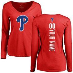 Philadelphia Phillies Women's Personalized Backer Slim Fit Long Sleeve T-Shirt - Red - $42.99