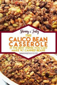 Calico Bean Casserole Recipe, Kidney beans, baked beans and butter beans are combined with ground beef, bacon and onion and baked. It's thick, hearty, and pretty tasty too! This can also be done in a slow cooker. #calico #bean #casserole #heartyrecipe #healthyrecipe Hamburger Dishes, Beef Dishes, Slow Cooker Recipes, Crockpot Recipes, Cooking Recipes, Bean Casserole, Casserole Recipes, Bean Recipes, Side Dish Recipes