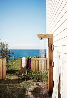 An outdoor shower is the perfect practical addition to any backyard space – here are some of the best ideas for your home. 28 Outdoor Shower Ideas with Maximum Summer Vibes Outdoor Areas, Outdoor Fun, Outdoor Decor, Outdoor Pool Shower, Saint Claude, Outside Showers, Beach Shower, Shower Bathroom, Bathroom Ideas