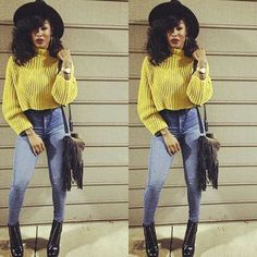 #Yellow crop top!! Uu can neva go wrong in a pair of #high waisted jeans!!! Luv dis outfit...