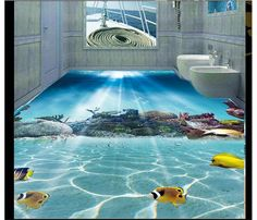Custom 3D PVC wallpaper photo wallpaper Reef fish in the sea world solid floor wallpaper #Affiliate