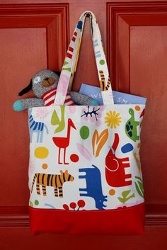 Tote bag. I made this for Jackson and it's perfect for his books!
